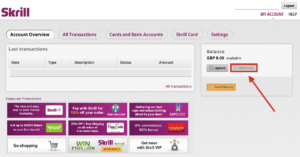 Skrill Account WIthdraw Picture